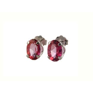 Pink Topaz and 14K White Gold Oval Cut Stud Earrings