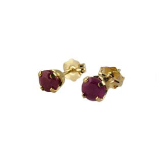 14K Gold Ruby Stud Earrings