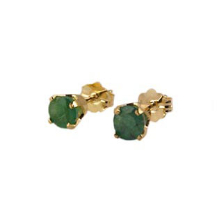 Emerald Stud Earrings, 14K Gold Jewelry
