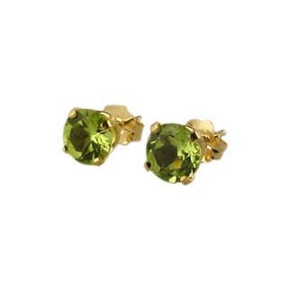 Peridot Jewelry, 14K Gold Stud Earrings