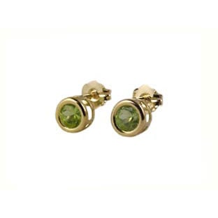14K Gold Peridot Earrings, Bezel Set