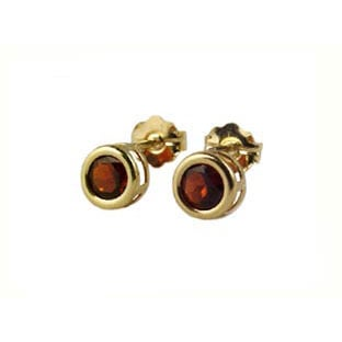 Garnet Stud Earrings, 14K Gold Bezel Jewelry