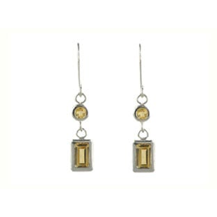 White Gold Citrine Emerald Cut Dangle Earrings