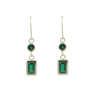 White Gold Emerald Dangle Emerald Cut Earrings
