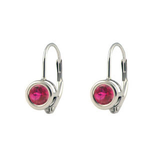 14K White Gold Ruby Lever Back Earrings
