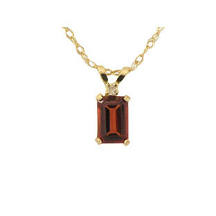 Garnet Pendants w/ Diamond, 14K Gold Emerald Cut