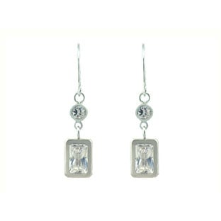 White Gold Cubic Zirconia Emerald Cut Dangle Earrings