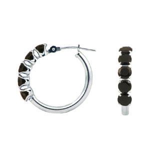 black onyx 14k white gold hoop earrings gemologica a