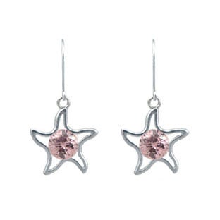 Children's White Gold Pink CZ Starfish Dangle Earrings