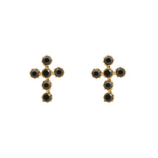 Black Onyx Cz And 14k Gold Back Child S Cross Earring