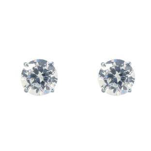 CZ Earrings - 14K White Gold CZ Stud Earrings